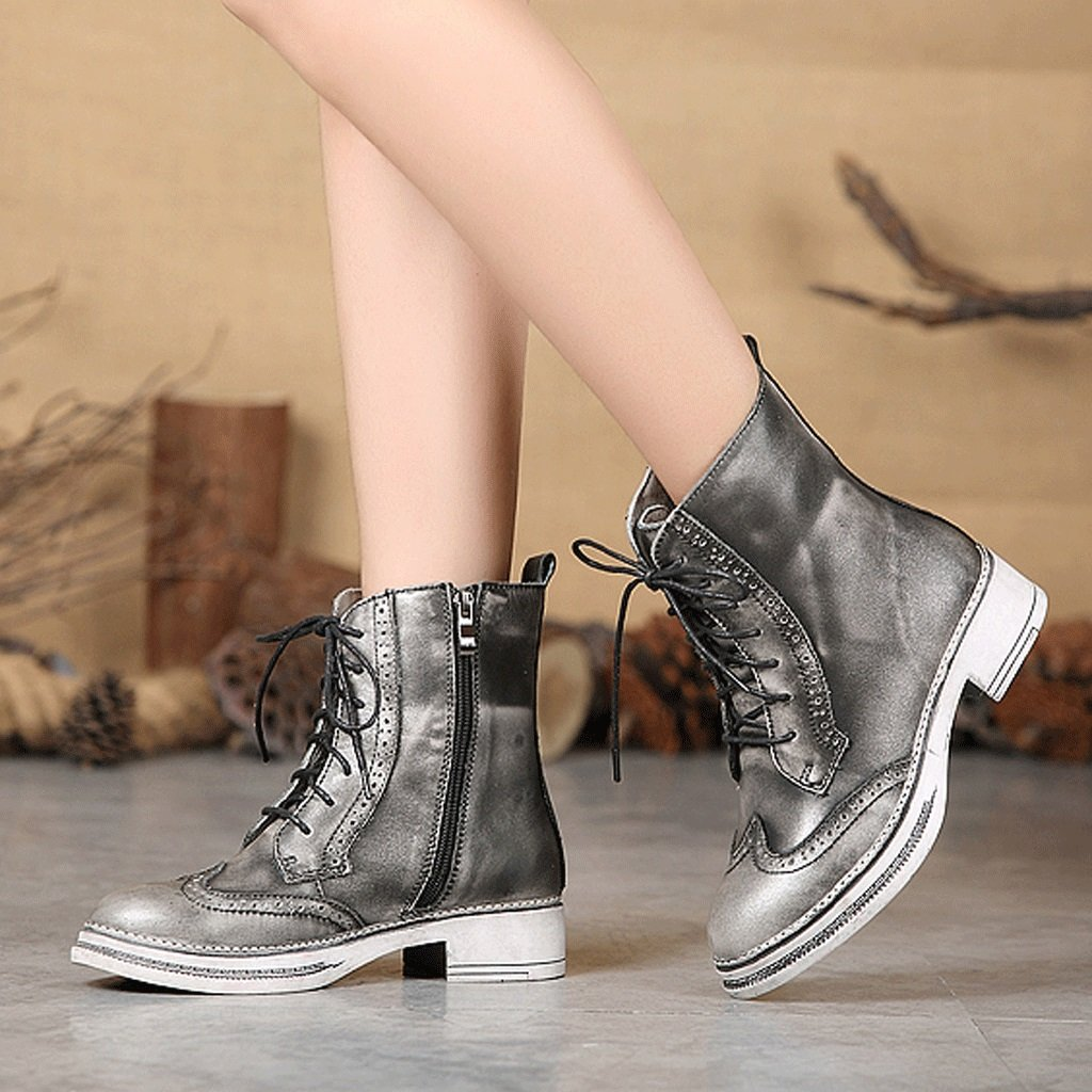 Women 's Martin boots autumn and winter retro genuine leather knights boots personality handmade shoes ( Color : Gray , Size : US:5UK:4EUR:35 ) by LI SHI XIANG SHOP (Image #7)