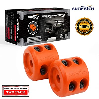 AUTMATCH Winch Cable Hook Stopper (2 Pack) Silicone Rubber Shock Absorbent Winch Stopper Best Winch Accessories for Wire & Synthetic Cables ATV UTV Prevent Pulling Eliminate Abrasion Bouncing Orange: Automotive