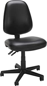 OFM Core Collection Straton Series Armless Swivel Task Chair, Anti-Microbial/Anti-Bacterial Vinyl, Mid Back, in Black