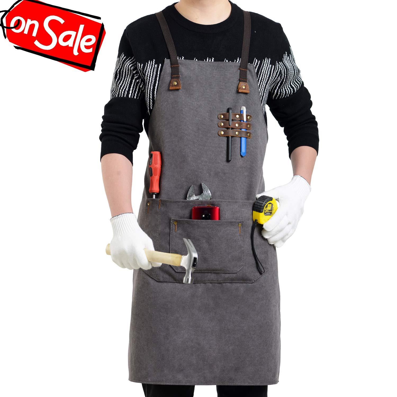 Flipzon Work Apron for Men Women Heavy Duty Canvas Leather Mens Apron Shop Apron Woodworking Apron with Tool Pockets,Smart Cross-Back Straps Design,Adjustable S to XXXL (Grey)