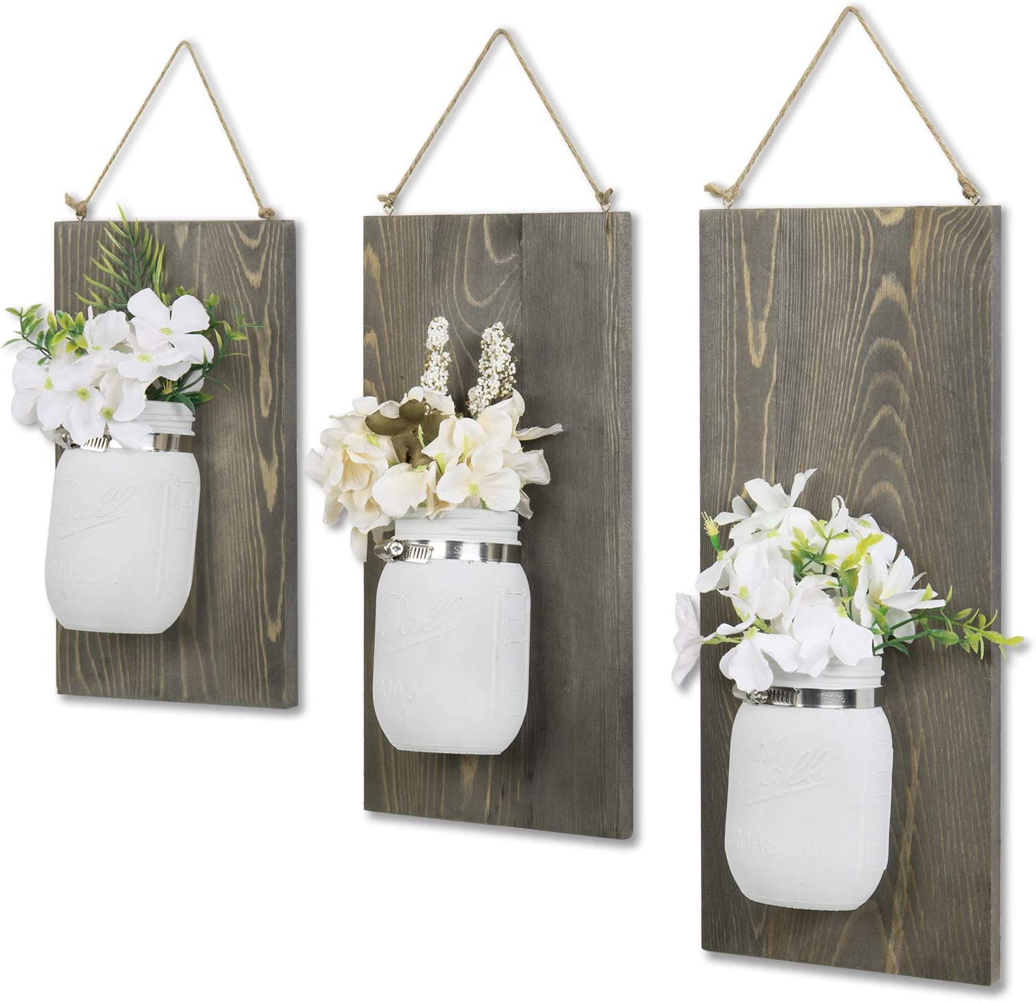 MyGift Rustic Style Wall Mounted White Glass Mason Jar & Gray Wood Planter Racks with Decorative Hanging Rope, Set of 3