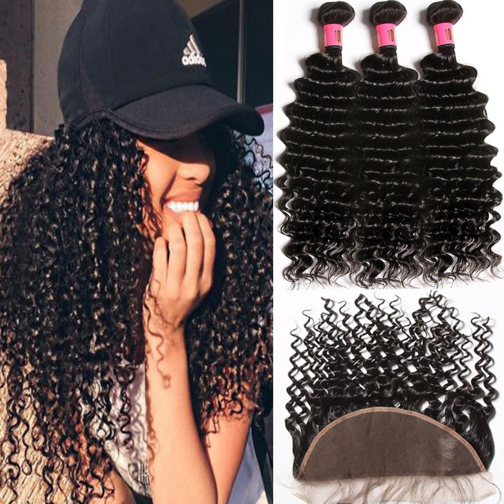 Malaysian Deep Wave With Lace Frontal Closure, 100% Unprocessed 8A Hairitory Virgin Human Hair 3 bundles With Closure Ear To Ear Lace Frontal with Bundles Natural Color 100g/PC(18 20 22 +16 free part)