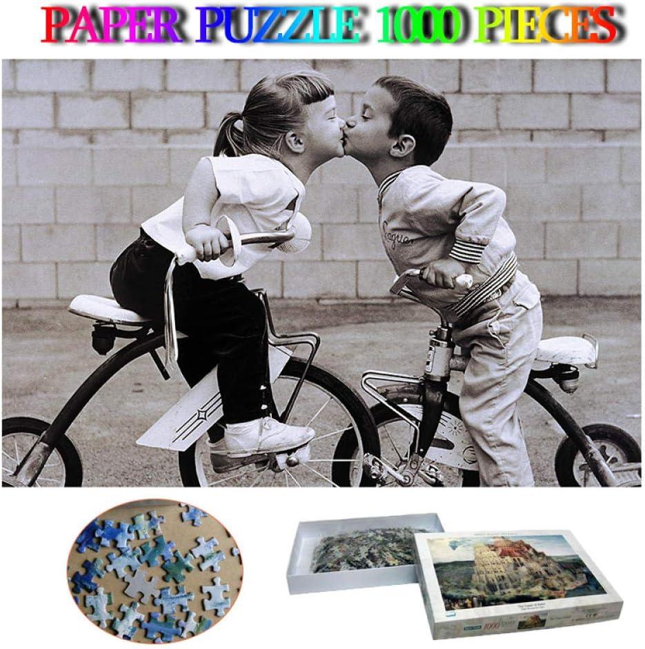 VGFTP Rompecabezas de 1000 Piezas, Rompecabezas de descompresión Juguetes, Beso Triciclo Educación Juegos de Rompecabezas Decoración del hogar Regalos para niños y Adultos