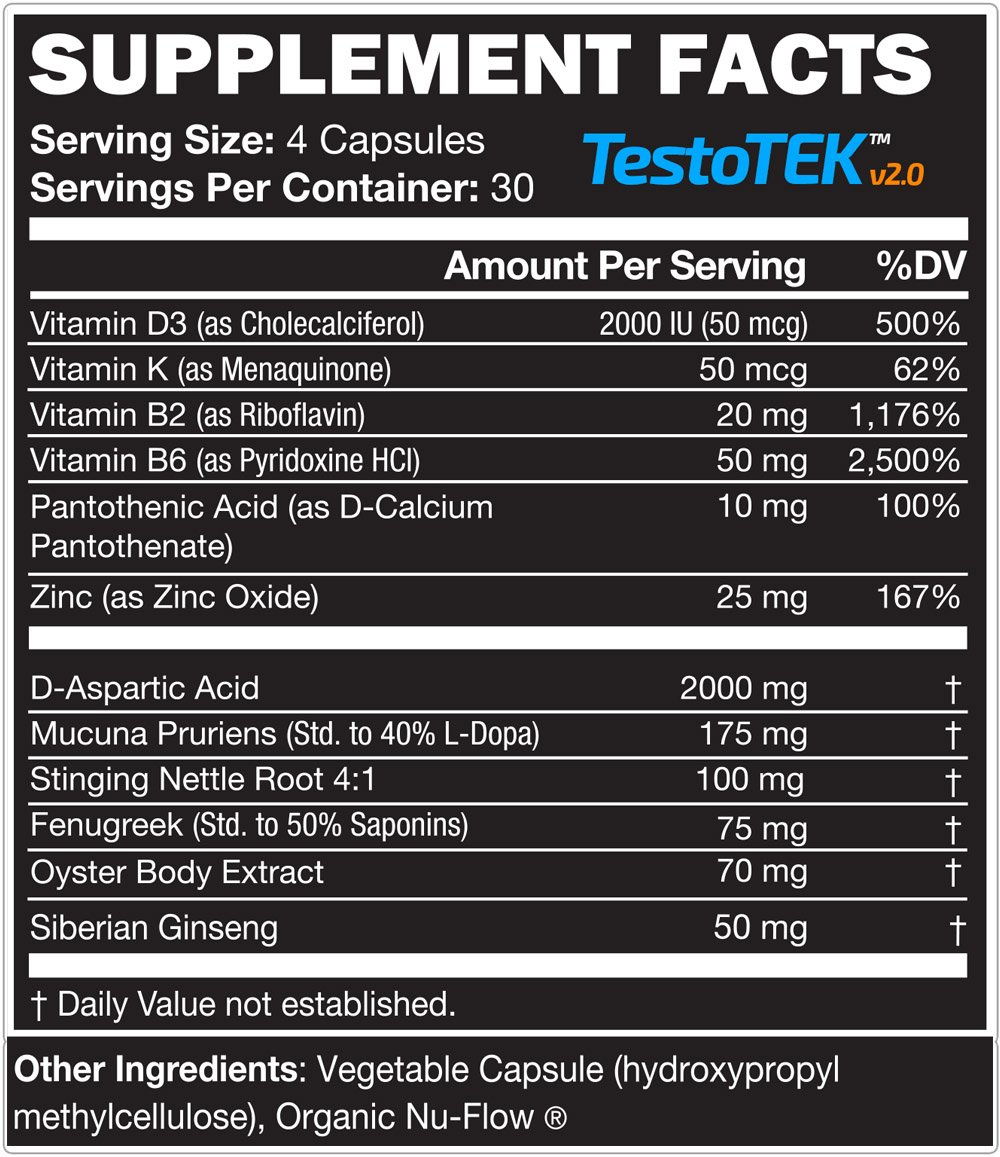 6 Bottles of TestoTEK™ v2.0 All Natural #1 Rated Testosterone Booster - 12 Ingredients, 720 Pills, 90 Day Supply - Strength, Energy, Stamina and More (6)