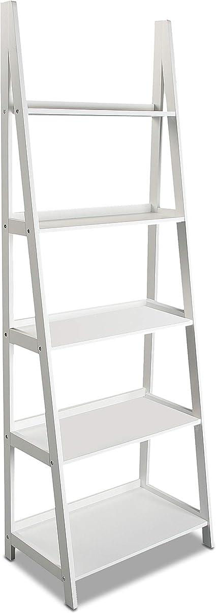 Versa 15810311 Estantería Librería Blanca 4 Estantes, Madera, 180 x 39 x 64 cm