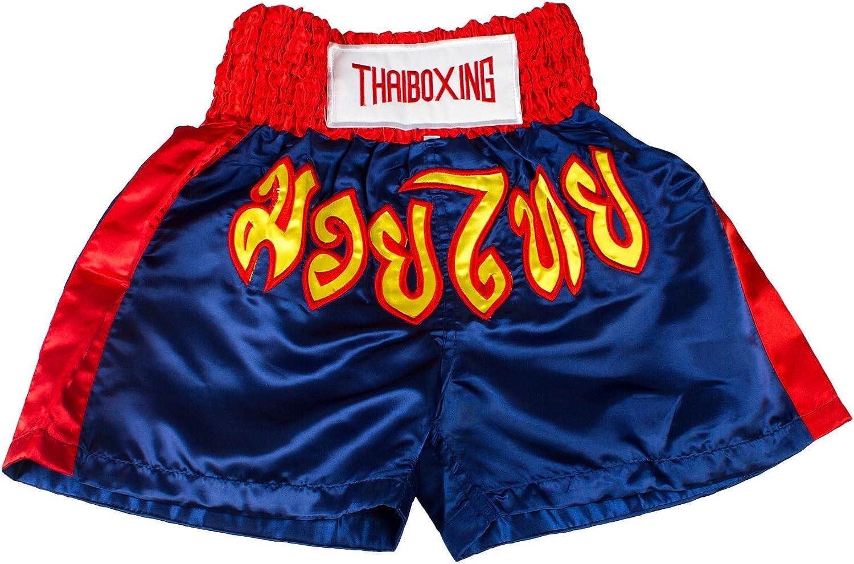 New Adults Men Women Muay Thai Pants Kick Boxing Trunks Satin Red Bluestrip