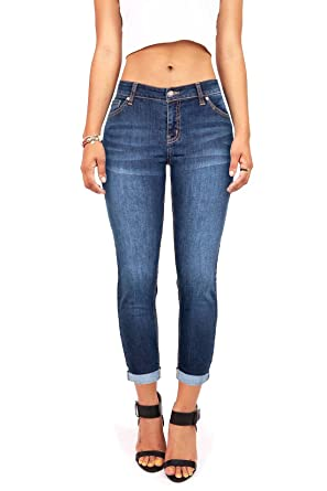 c3f6f5167315c1 YouBens Womens Slim Fit Stretchy Skinny High Waisted Cropped Jeans with  Pockets