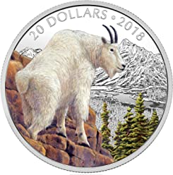 METTLESOME MOUNTAIN GOAT Majestic Wildlife 1 Oz Silver Coin 20$ Canada 2018