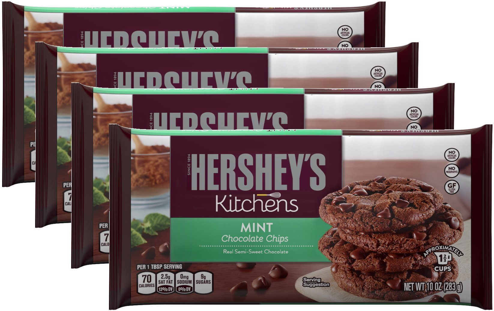 Hershey's Mint Chocolate Baking Chips, 10-Ounce Bag (Pack of 4)
