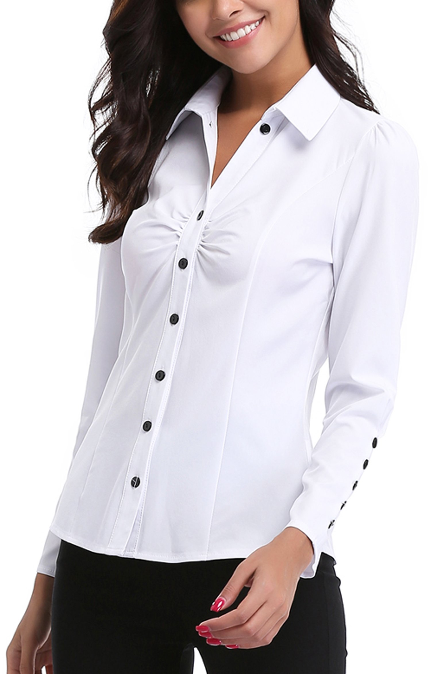 MISS MOLY Women's White Button Down Shirt V Neck Collar Puff Sleeve Office M by MISS MOLY (Image #3)