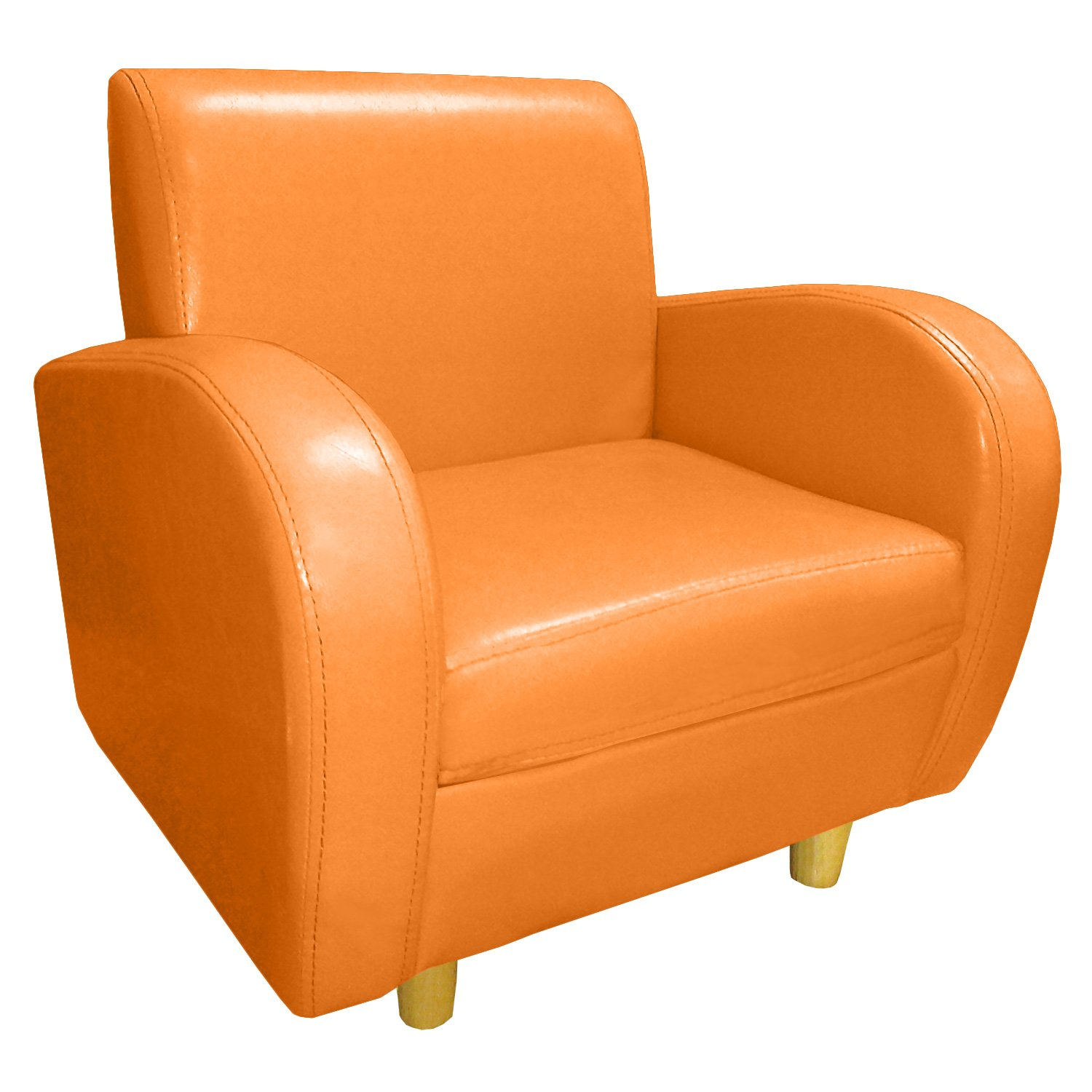 Cute pink armchair or orange tub chair for young children for Orange kids chair