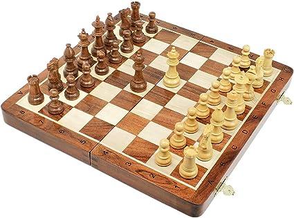 10 White Wood folding chess set with Staunton style pieces