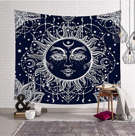 YUYINGXIANG Sol Negro Luna Decoración de Tapiz Creativo ...