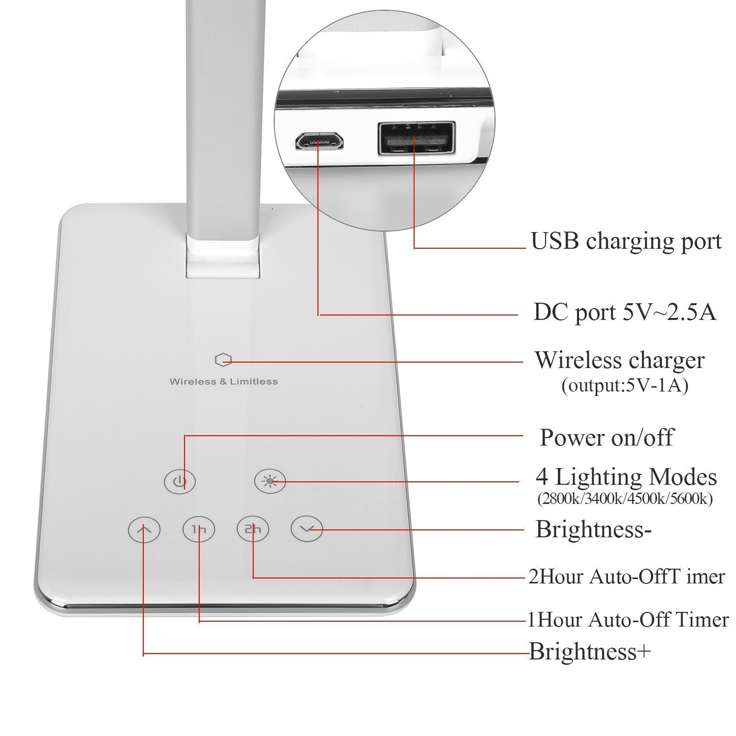 4 Color Lighting Mode Brightness Adjustable Eye-Care Dimmable Touch Lamps Dimmable Folding Table Lamp LED Desk Lamp with Qi Wireless Charger USB Charging Port