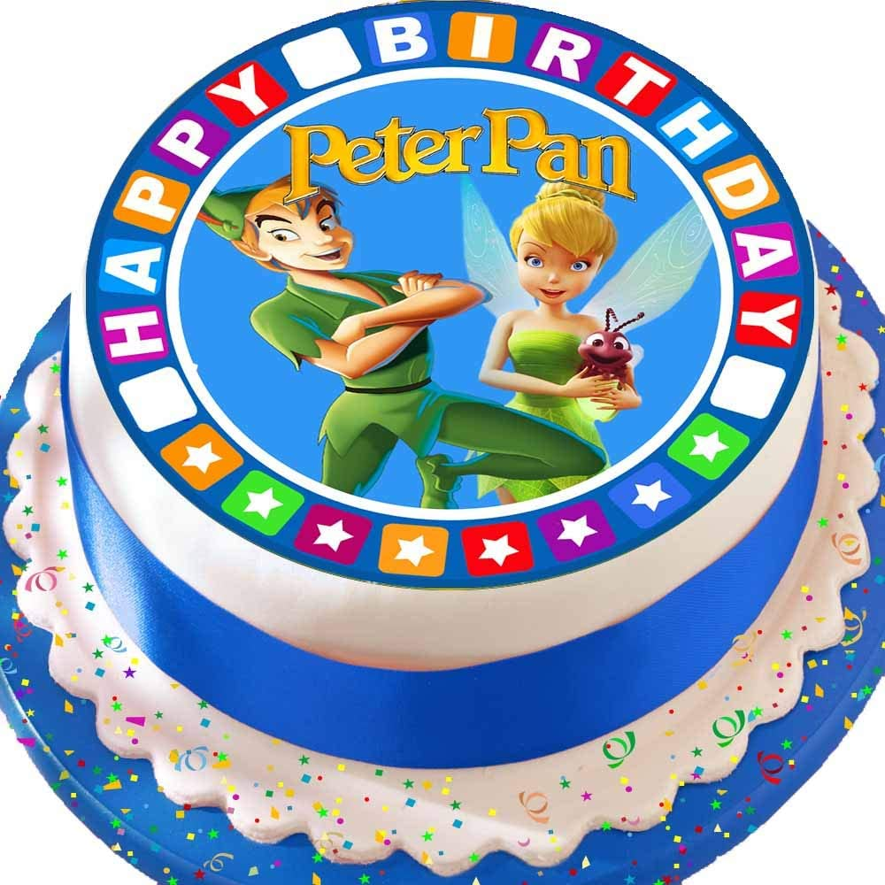 Pleasant Precut Edible Icing Large Cake Topper 7 5 Inch Round Peter Pan Personalised Birthday Cards Beptaeletsinfo