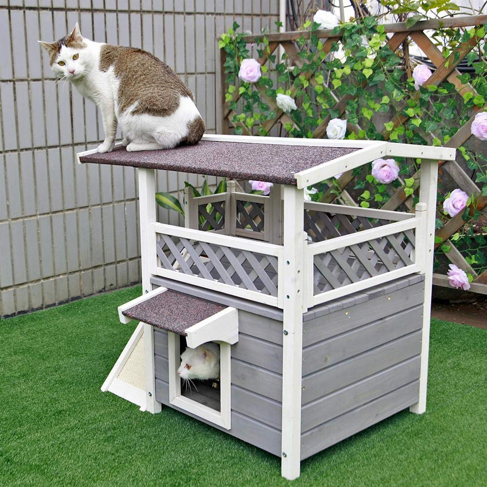 Petsfit 2-Story Outdoor Weatherproof Cat House/Condo/Shelter with Stair CHW200211