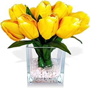 Basik Nature Artificial Flowers Tulip Floral Arrangement in Vase - Tulips Artificial Silk Flowers for Decoration (Yellow)