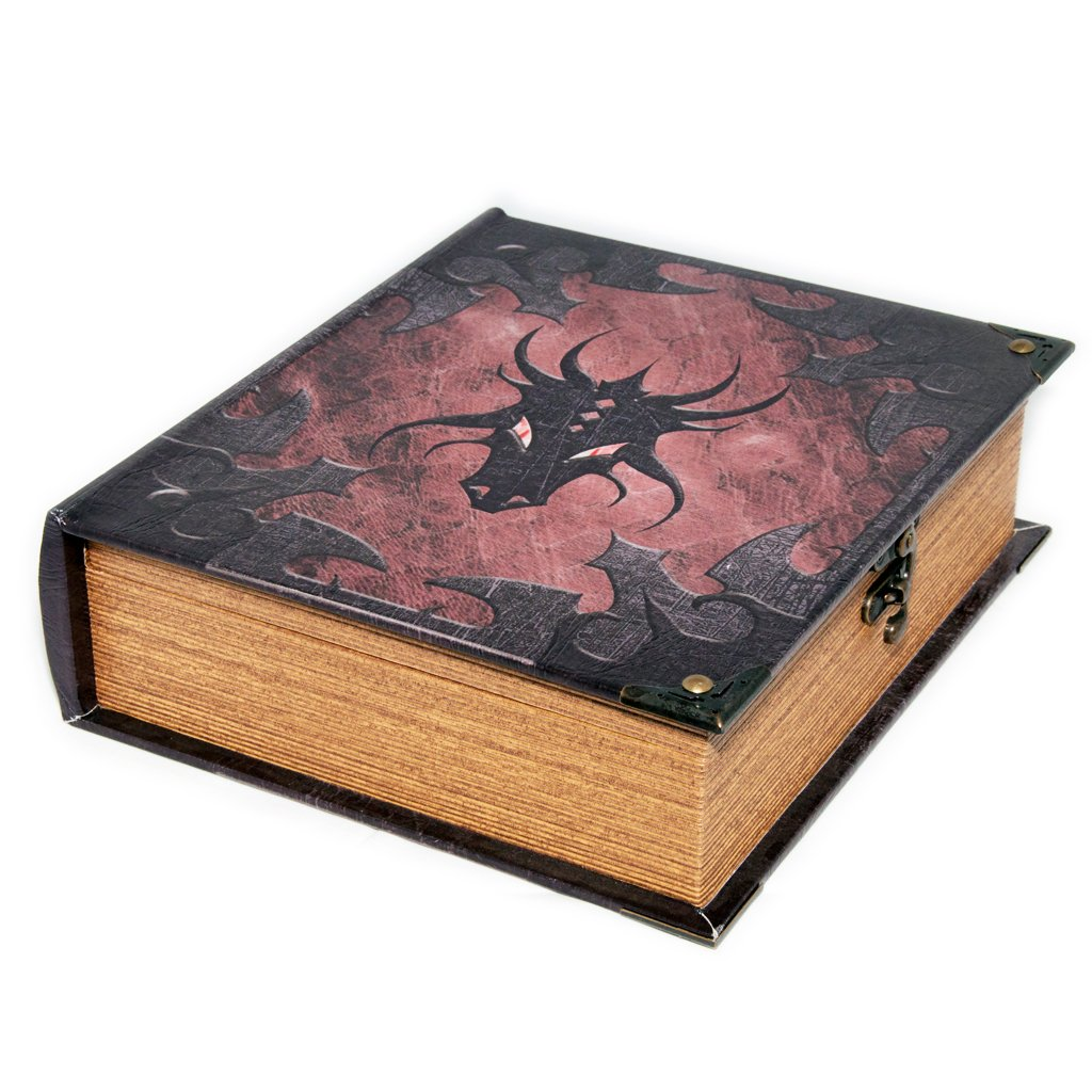 Wizardry Foundry Grimoire Deck Box, Dragonlord | Large Wooden Spellbook Style Fabric Lined Deck or Cube Box for MTG, Yugioh, and Other TCG | 1000+ Card Capacity