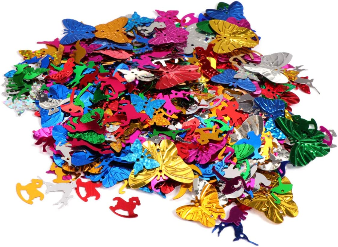 Amosfun Sequins for Crafts Animal Shape 30g DIY Jewelry Making Sewing Material Supplies Festival Wedding Xmas Party Confetti Decoration