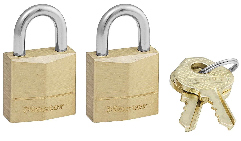 Master Lock Padlock Solid Brass Lock 3 4 in. Wide 120T Pack of 2 Keyed Alike