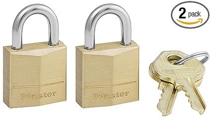 19c2b1331778 Master Lock Padlock, Solid Brass Lock, 3/4 in. Wide, 120T (Pack of 2-Keyed  Alike)