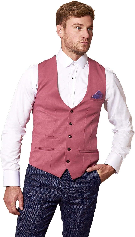 Marc Darcy Mens Pink Designer Waistcoat
