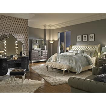 Beau Aico Amini Hollywood Swank Queen Pearl Leather Bedroom Set By