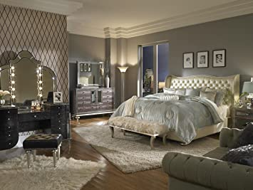 High Quality Hollywood Swank Queen Pearl Leather Bedroom Set By Aico Amini