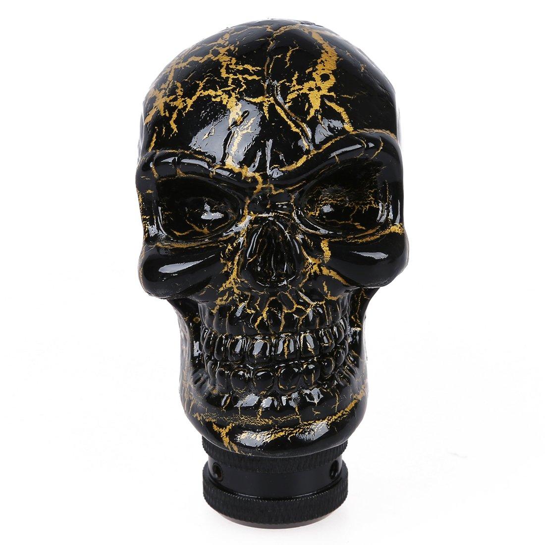 SODIAL(R) Auto Car Black Gold Tone Skull Head Style Ceramic Gear Shift Knob 008955