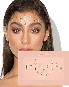 Priyanka Gold Bindis ✮ MERCY LONDON Crystal Indian Bindi Face Jewels Gold Silver Multi Packet Bridal