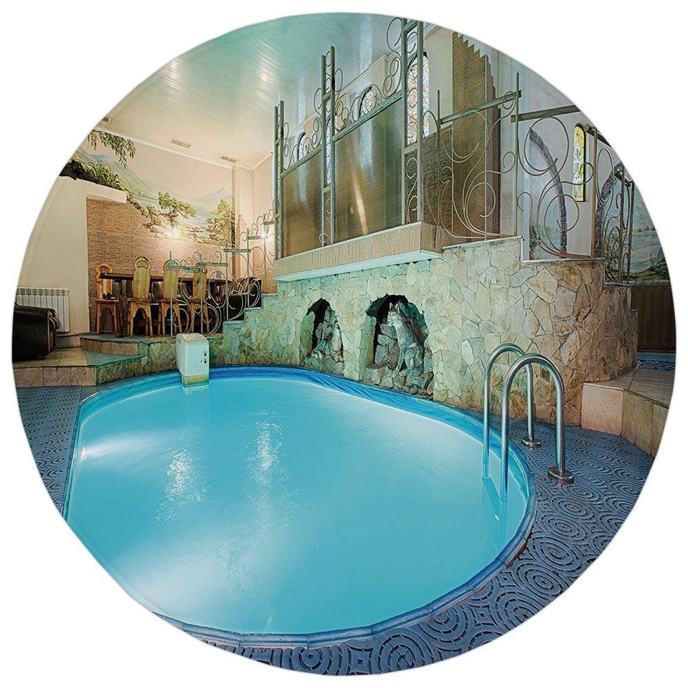 Round Rug Mat Carpet,Modern Decor,Vivid Blue Swimming Pool in Spa Interior Resort Relaxation Theraphy Theme,Blue Aqua Beige,Flannel Microfiber Non-slip Soft Absorbent,for Kitchen Floor Bathroom