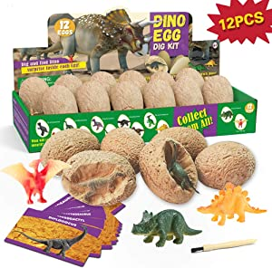 XXTOYS Dino Egg Dig Kit Dinosaur Eggs Dig Kits 12 Dinosaur Excavation Kits with 12 Unique Dinosaur Toys Dino Egg Kit for Kids Easter Party Archaeology Paleontology Educational Science Gift