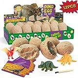 XXTOYS Dino Egg Dig Kit Dinosaur Eggs 12 Dinosaur Excavation Kits with 12 Unique Dinosaur Toys Dinosaur Dig for Kids Easter P