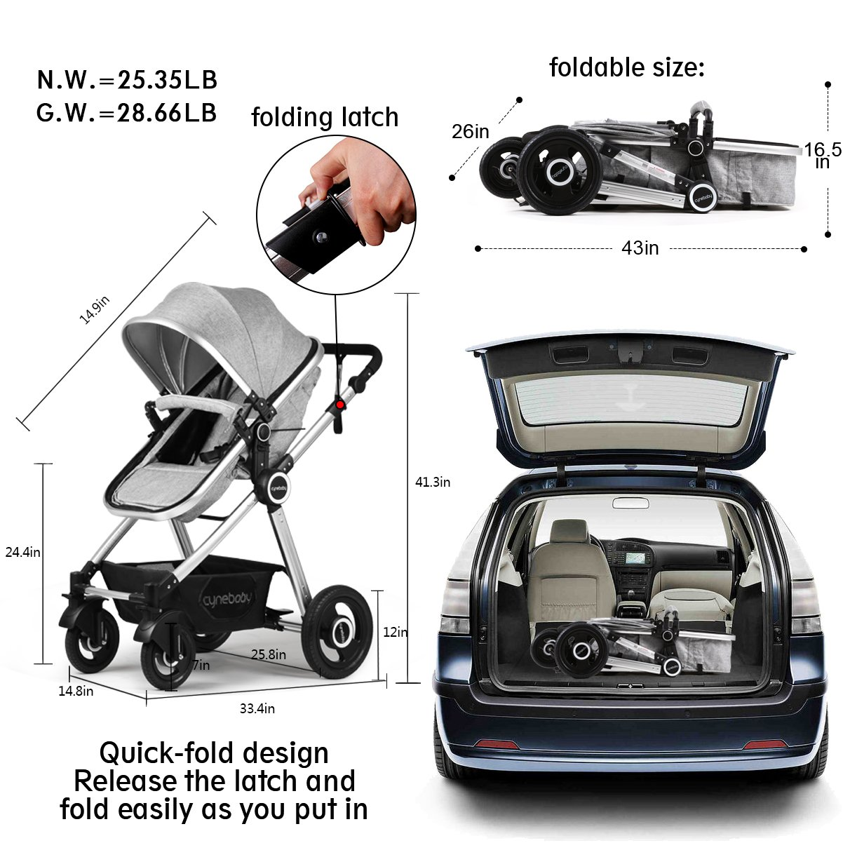Infant Toddler Stroller Folding Convertible Carriage Infant Anti-Shock High View Luxury Baby Stroller Newborn Pram Stroller Pushchair Stroller for Babies(Light Camel) by Cynebaby (Image #9)
