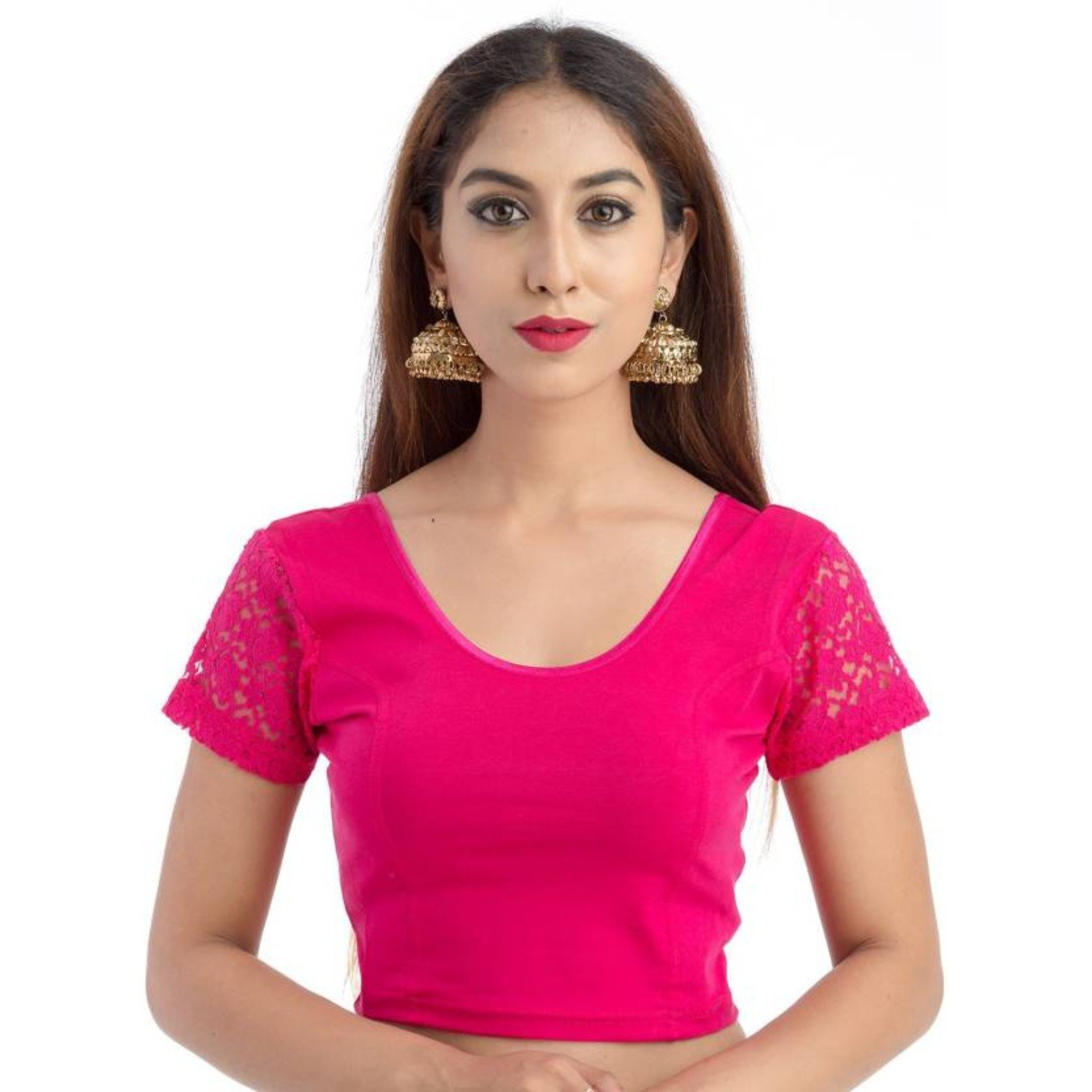 56eab2aa78e25 ... fressia fabrics women s stretchable readymade saree blouse crop top  choli pack ...