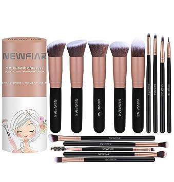 Set de brochas de maquillaje NEWFIAR, Conjunto de 14 brochas profesionales, Brochas para sombra de ojos y rostro, Preciosa caja, Regalo ideal, ...