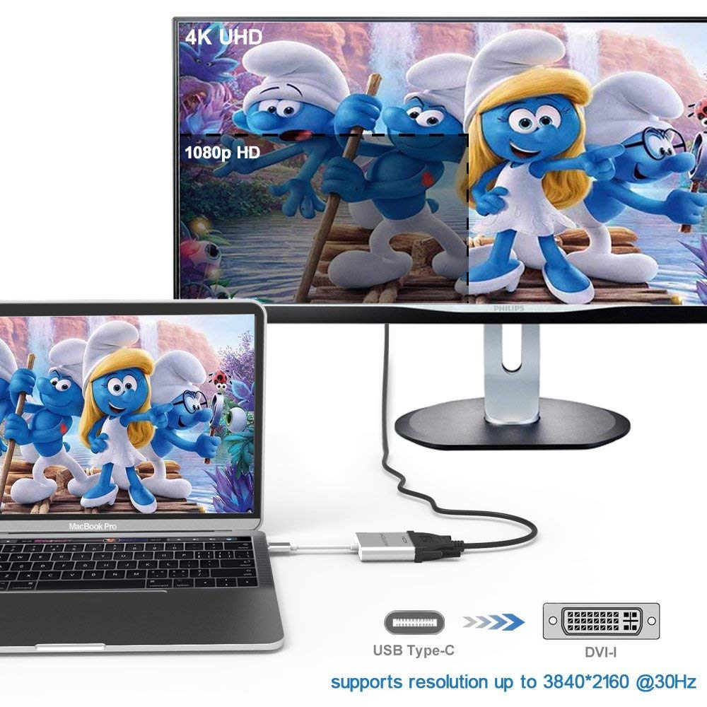USB-C to DVI Adapter With Aluminium Case for 2017 MacBook Pro//Samsung Galaxy S8 USB C TO DVI Adapter,AVOTCH USB 3.1 Type C