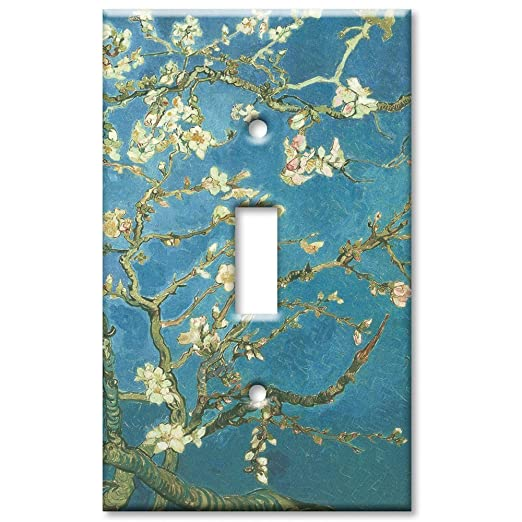 single gang toggle wall plate van gogh almond blossoms amazoncom - Decorative Switch Plates
