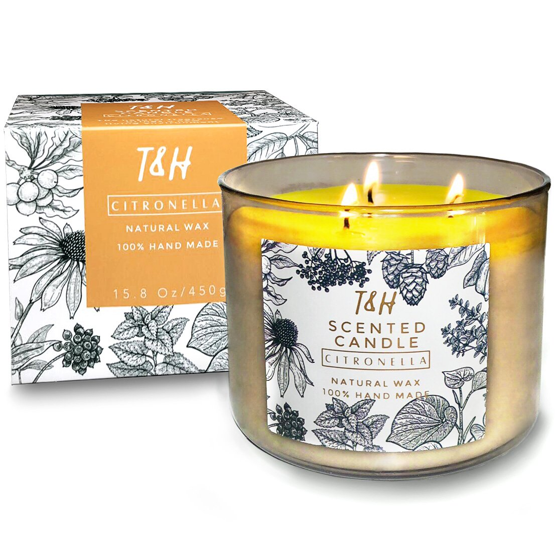 T & H Citronella Candles Outdoor Indoor 3-Wick Soy Scented Candles Aromatherapy Stress Relief 75 Hour Burn