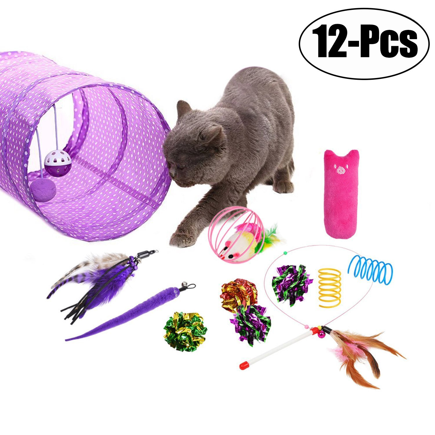 Cat Toys, Legendog 12Pcs Cat Kitten Interactive Feather Toy Teaser Wand with 2 Worm Refills Cat Tunnels Toys Crinkle Balls Set