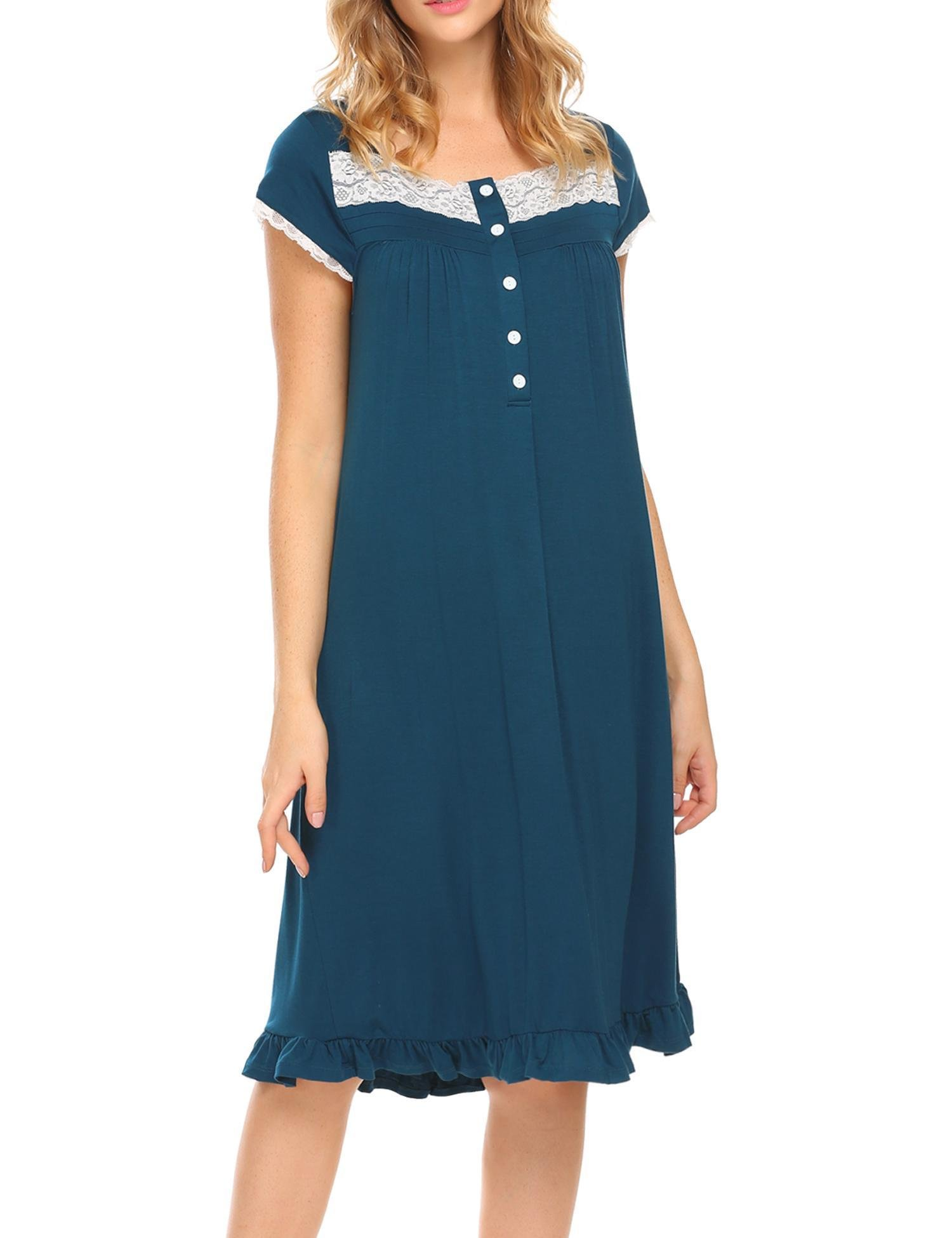 Women's Night Gowns Short Sleeve Button-Down Sleepshirt House Dress,Blue,Large by DonKap (Image #3)
