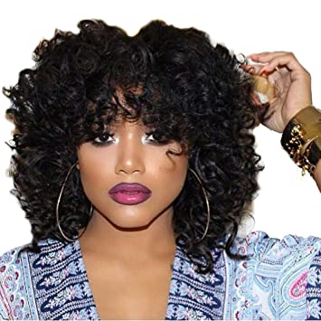 Amazon.com   Curly Black Wig Short Curly Afro Wigs for Black Women Big  Fluffy Curly Wig Short Cut Wigs Fluffy Natural Wavy Synthetic Hair Full Wigs  Afro Wig ... 09f4f5698