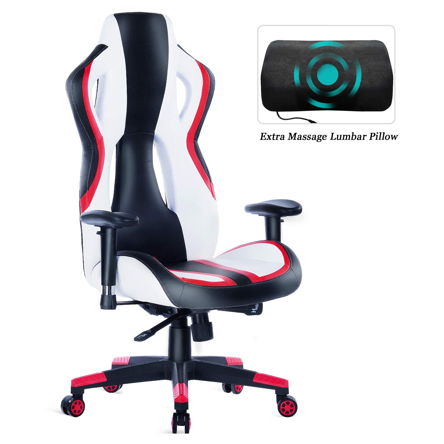 HEALGEN Gaming Chair Racing Style High-Back PU Leather Office Chair PC Desk Chair Executive and Ergonomic Swivel Chair (907 Red) by HEALGEN