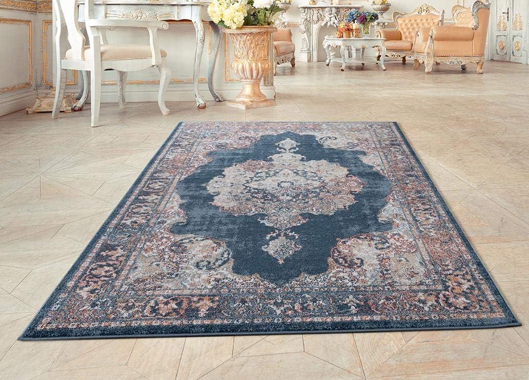 Amazon Com Luxe Weavers Blue Oriental 5x7 Area Rug 7158 Furniture Decor