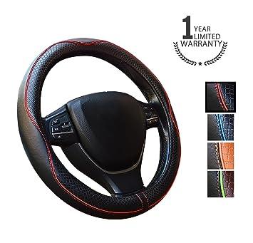 Gomass Cubre Volante de cuero coche universal de 15 pulgadas y transpirable antideslizante de ruedas Wrap (red): Amazon.es: Coche y moto