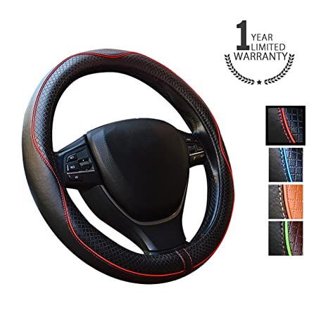 Gomass Cubre Volante de cuero coche universal de 15 pulgadas y transpirable antideslizante de ruedas Wrap