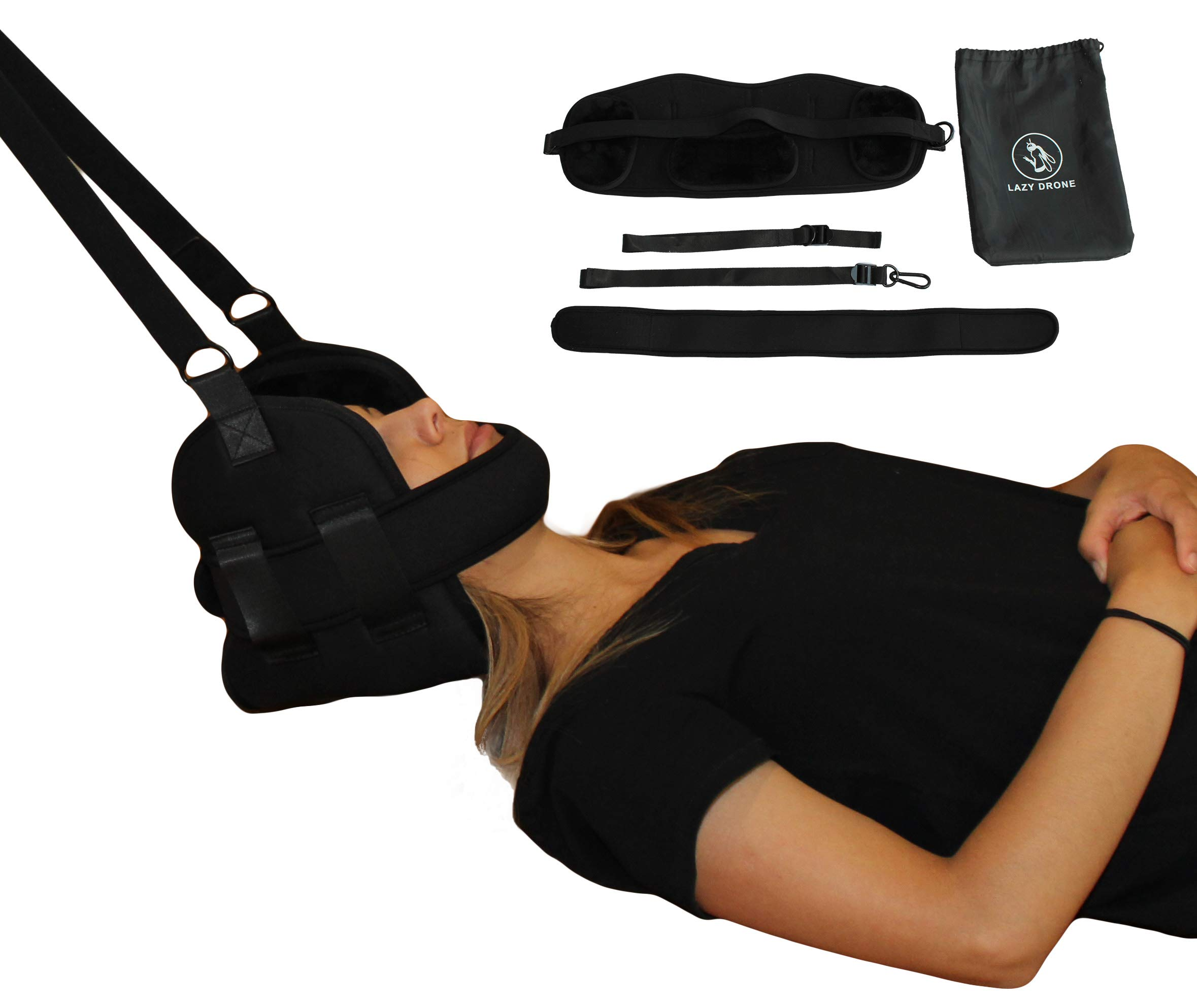 Lazy Drone Enhanced Neck and Cervical Traction for Chronic Neck and Shoulder Pain, Text Neck, Correct Poor Posture, Stress Relief; Portable Hammock Sling for Home or Office Physical Therapy by Lazy Drone Market