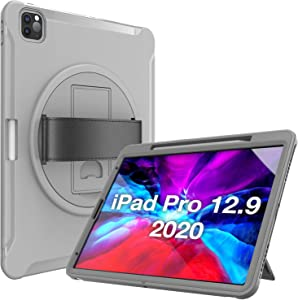 """ProCase iPad Pro 12.9 Ruggued Case 2020 & 2018 [Support Apple Pencil 2 Charging], Heavy Duty Shockproof Rotatable Kickstand Protective Cover for iPad Pro 12.9"""" 4th Gen 2020 / 3rd Gen 2018 -Grey"""