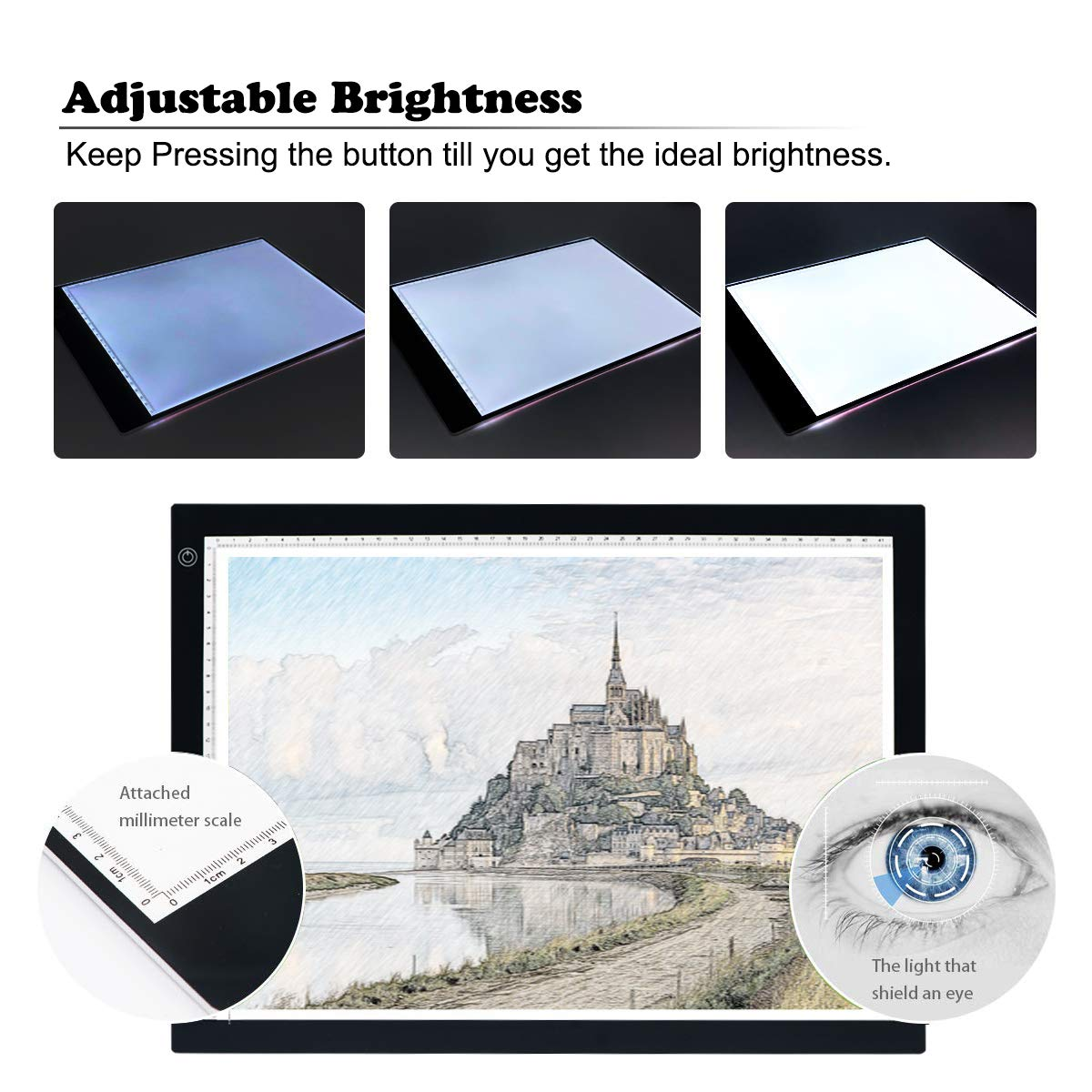 A4 Ultra-thin Tracing Light Board IKYE Portable LED Light Box Tracer Dimmable Brightness LED Artcraft Tracing Light Box Light Pad for Artists Drawing Sketching Animation Stencilling X-ray Viewing