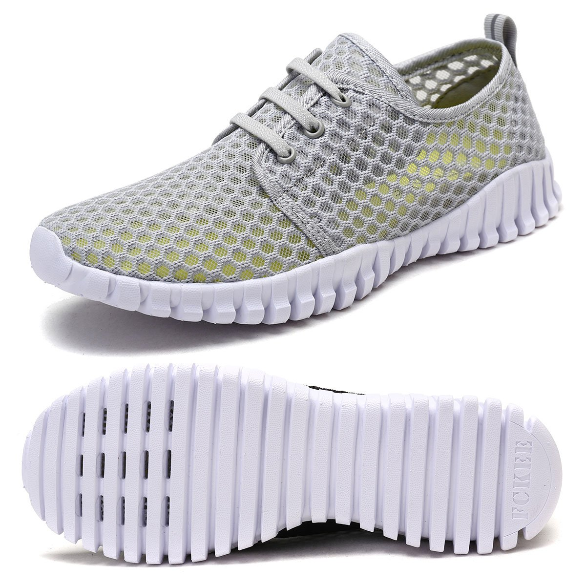 FCKEE Quick Drying Mesh Water Aqua Shoes for Men and Women,MBD,Gray-41